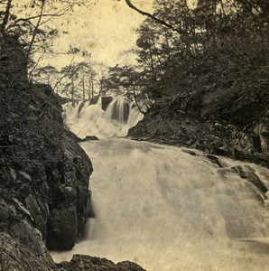UK North Wales Swallow Falls from below Old Stereoview Photo Bedford 1865