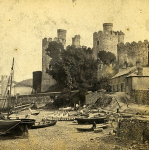 UK North Wales Conway Castle from the Quai Old Stereoview Photo Bedford 1865