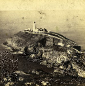 UK North Wales Holyhead South Stack Rock Old Stereoview Photo Bedford 1865
