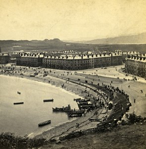 UK North Wales Llandudno Bay & Beach Old Stereoview Photo Bedford 1865