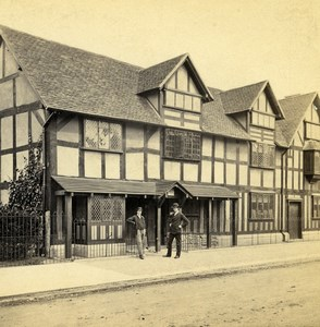 UK Stratford on Avon Shakespeare House Stereoview Photo Bedford 1865