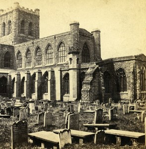 UK Chester Cathedral from Walls Old Stereoview Photo Bedford 1865
