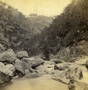 UK Devil's Bridge Hotel from the River Rheidol Old Stereoview Photo Bedford 1865
