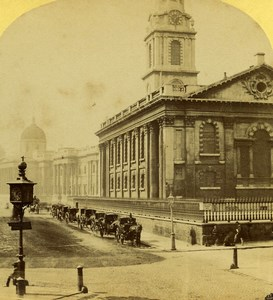 London St Martin Church National Gallery Old J Elliott Stereoview Photo 1860
