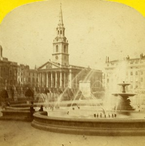 United Kingdom London Trafalgar Square Old Stereoview Photo Blanchard 1860