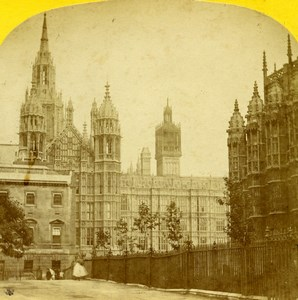 United Kingdom London Parliament House Old Stereoview Photo Blanchard 1860