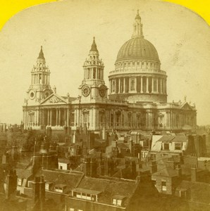 United Kingdom London St Paul Cathedral Old Stereoview Photo Blanchard 1860
