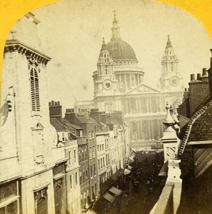 United Kingdom London St Paul Cathedral Old Stereoview Photo 1860