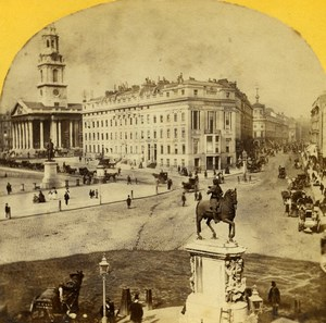 United Kingdom London Trafalgar Square Old Instantaneous Stereoview Photo 1860