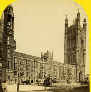 United Kingdom Houses of Parliament Victoria Tower Stereoview Photo York 1860
