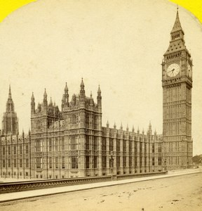 United Kingdom London Houses of Parliament Old Stereoview Photo York 1860