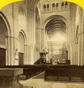 United Kingdom London St Alban s Abbey Interior Old Stereoview Photo York 1860