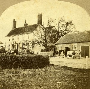United Kingdom Essex Tawney Great Hall Old Stereoview Photo 1860