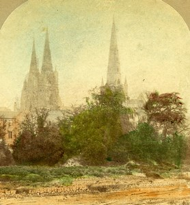 United Kingdom Lichfield Cathedral Panorama Hand Colored Stereoview Photo 1860