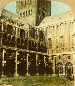 United Kingdom Norwich Cathedral fr Cloisters Hand Colored Stereoview Photo 1860