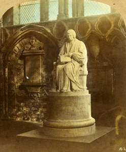 United Kingdom Durham Cathedral Bishop Van Mildert Statue Stereoview Photo 1860
