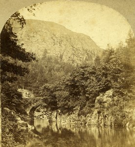 United Kingdom North Wales Pont Aberglaslyn Old Stereoview Photo Sedgfield 1860