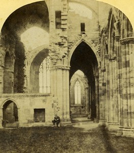 United Kingdom Melrose Abbey Old Stereoview Photo 1860