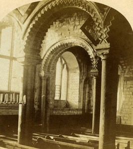 United Kingdom Durham Cathedral Galilee or Lady Chapel Old Stereoview Photo 1860