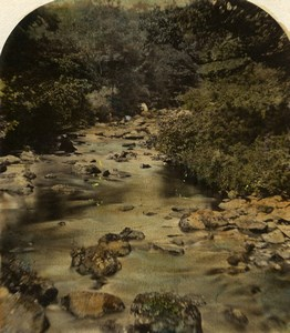 United Kingdom Landscape River Old Stereoview Photo Hand Colored 1860