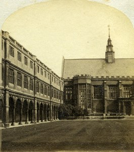 United Kingdom Cambridge Trinity College Old Stereoview Photo 1860