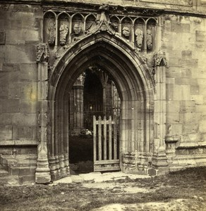 United Kingdom Melrose Abbey Doorway in South Transept Old Stereoview Photo 1860