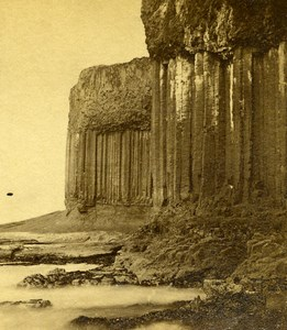 United Kingdom Scotland Staffa Colonnade Basalt Old Stereoview Photo 1860