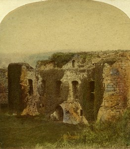 United Kingdom Landscape Beaumaris Castle Old Stereoview Photo Ogle & Edge 1860