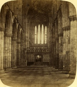 United Kingdom Glasgow Cathedral Interior Old Stereoview Photo 1860
