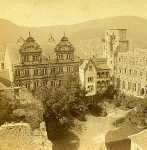 Germany Rhine Border Heidelberg Castle Old Stereoview Photo Bertrand 1860
