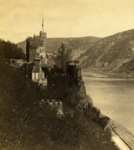 Germany Castle of Rheinstein Panorama Old Stereoview Photo Braun 1860