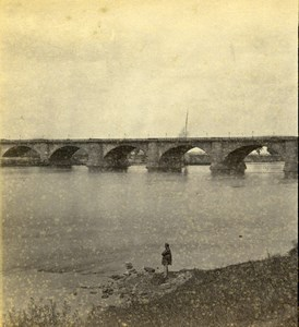 Germany Dresden Bridge on Elbe River Old Stereoview Photo Braun 1860