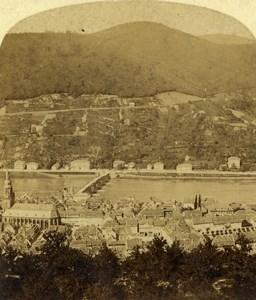 Germany Heidelberg Panorama Old Stereoview Photo Radiguet 1860