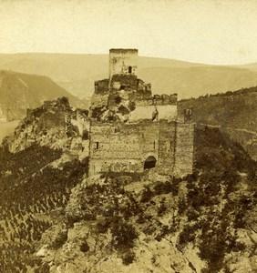 Germany Prusse Liebenstein Castle St Goar Old Stereoview Photo Radiguet 1860