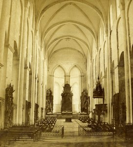Germany Mainz Cathedral Interior Old Stereoview Photo Radiguet 1860