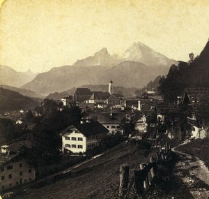 Germany Bavaria Berchtesgaden Landscape Old Stereoview Photo 1860