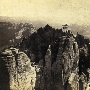 Germany Swiss Saxony Landscape north East of Bastei Old Stereo Photo 1860