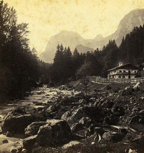Germany Bavaria near Hintersee Landscape Old Stereoview Photo 1860