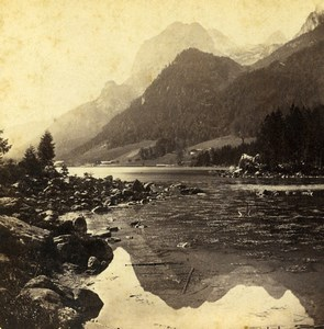 Germany Bavaria Hintersee Mulhsturzhorn Landscape Old Stereoview Photo 1860