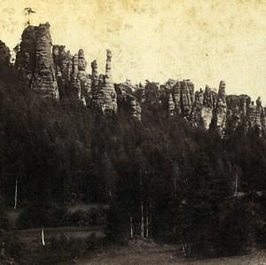 Germany Swiss Saxony Rocks in Bilagrund Old Stereoview Photo 1860