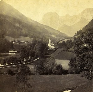 Germany Bavaria Ramsau Landscape Old Stereoview Photo 1860