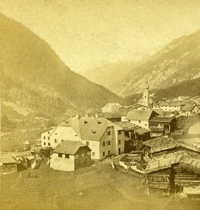 Germany Tyrol Stanzerthal Flirsch Landscape Old Stereoview Photo 1860