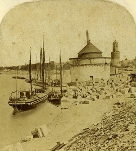Germany Rhine Andernach Landscape Sailboat Old Stereoview Photo 1860