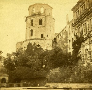 Germany Heidelberg Octogonal Tower Old Stereoview Photo Sommer 1860