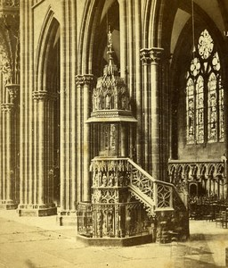 France Strasbourg Cathedral Pulpit Old Stereoview Photo 1860