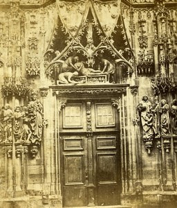 France Strasbourg Cathedral North Door Old Stereoview Photo 1860