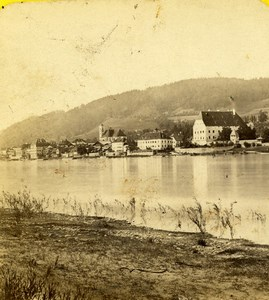 Germany Bayern Donau Obernzell Landscape Old Stereoview Photo AC 1860