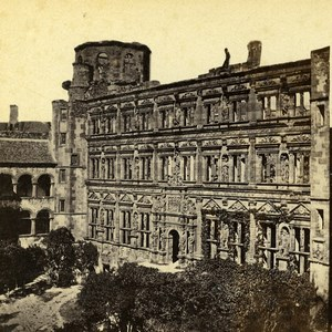 Germany Heidelberg Castle Interior Court Old Stereoview Photo Richard 1860