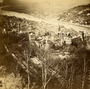 Germany Heidelberg Panorama Landscape Old Stereoview Photo Richard 1860