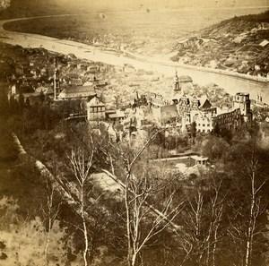 Germany Heidelberg Panorama Landscape Old Stereoview Photo Richard 1860